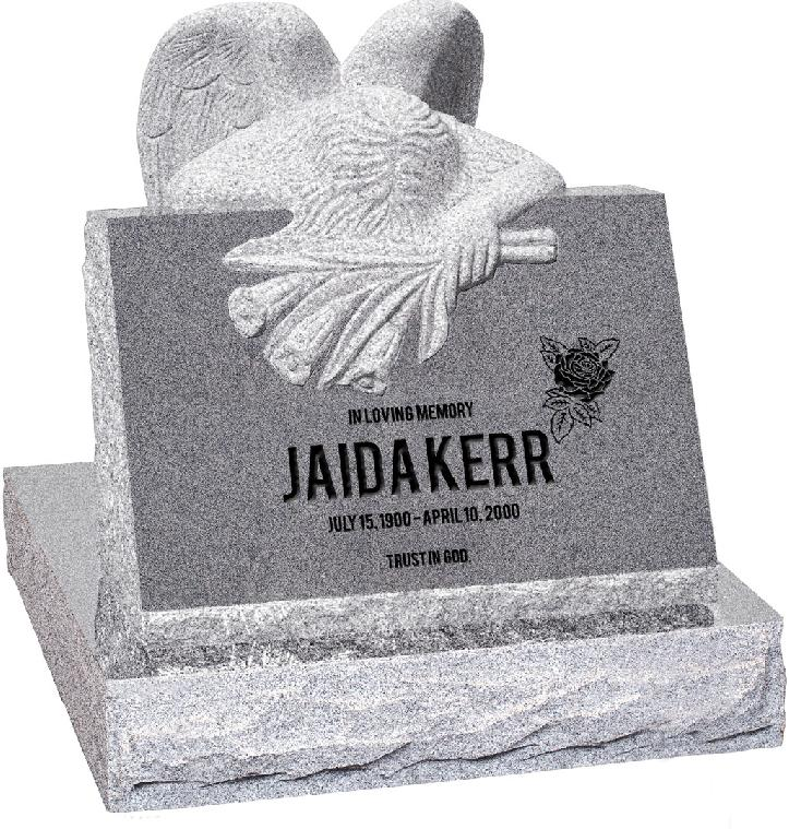 24 inch x 18 inch x 24 inch Carved Angel Slant Headstone polished front and back with 28 inch Base in Grey