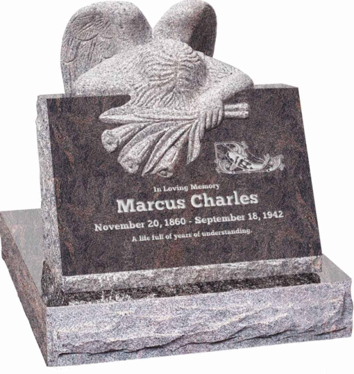 24 inch x 18 inch x 24 inch Carved Angel Slant Headstone polished front and back with 28 inch Base in Himalayan