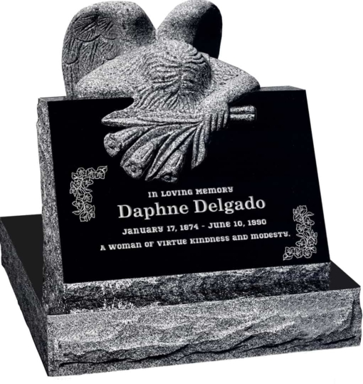 24 inch x 18 inch x 24 inch Carved Angel Slant Headstone polished front and back with 28 inch Base in Imperial Black