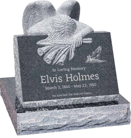 24 inch x 18 inch x 24 inch Carved Angel Slant Headstone polished front and back with 28 inch Base in Imperial Grey