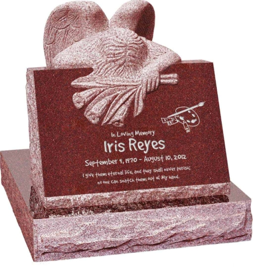 24 inch x 18 inch x 24 inch Carved Angel Slant Headstone polished front and back with 28 inch Base in Imperial Red