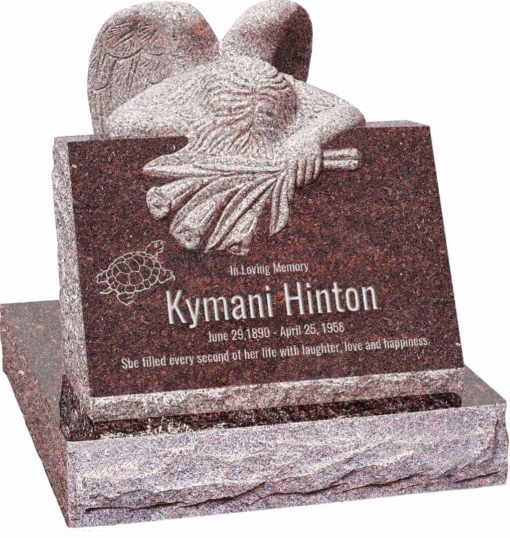 24 inch x 18 inch x 24 inch Carved Angel Slant Headstone polished front and back with 28 inch Base in Mahogany