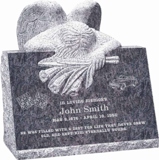 24inch x 18inch x 24inch carved angel slant headstone polished front and back with inch base in bahama blue