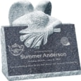 24inch x 18inch x 24inch carved angel slant headstone polished front and back with inch base in blue pearl