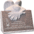 24inch x 18inch x 24inch carved angel slant headstone polished front and back with inch base in desert pink