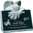 24inch x 18inch x 24inch carved angel slant headstone polished front and back with inch base in emerald green