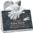 24inch x 18inch x 24inch carved angel slant headstone polished front and back with inch base in himalayan