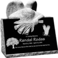 24inch x 18inch x 24inch carved angel slant headstone polished front and back with inch base in imperial black