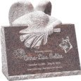 24inch x 18inch x 24inch carved angel slant headstone polished front and back with inch base in mahogany