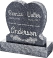 24inch x 6inch x 24inch Single Heart Upright Headstone polished front and back with 30inch Base in Blue Pearl