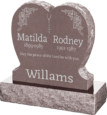 24inch x 6inch x 24inch Single Heart Upright Headstone polished front and back with 30inch Base in Desert Pink