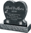 24inch x 6inch x 24inch Single Heart Upright Headstone polished front and back with 30inch Base in Emerald Pearl