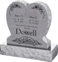 24inch x 6inch x 24inch Single Heart Upright Headstone polished front and back with 30inch Base in Grey