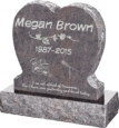 24inch x 6inch x 24inch Single Heart Upright Headstone polished front and back with 30inch Base in Himalayan