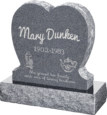 24inch x 6inch x 24inch Single Heart Upright Headstone polished front and back with 30inch Base in Imperial Grey