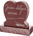 24inch x 6inch x 24inch Single Heart Upright Headstone polished front and back with 30inch Base in Imperial Red