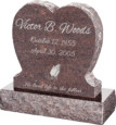 24inch x 6inch x 24inch Single Heart Upright Headstone polished front and back with 30inch Base in Mahogany