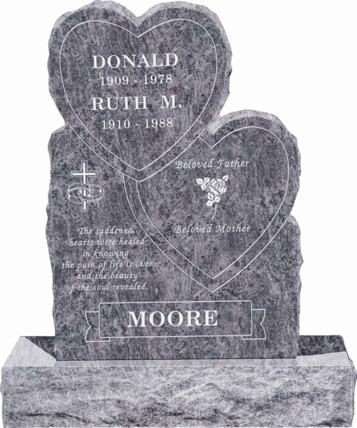 24inch x 6inch x 34inch Double Heart Upright Headstone polished front and back with 34inch Base in Bahama Blue