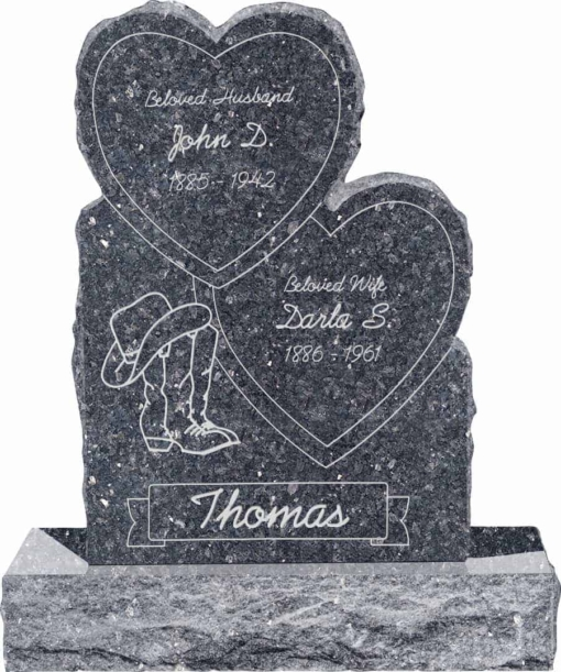 24inch x 6inch x 34inch Double Heart Upright Headstone polished front and back with 34inch Base in Blue Pearl