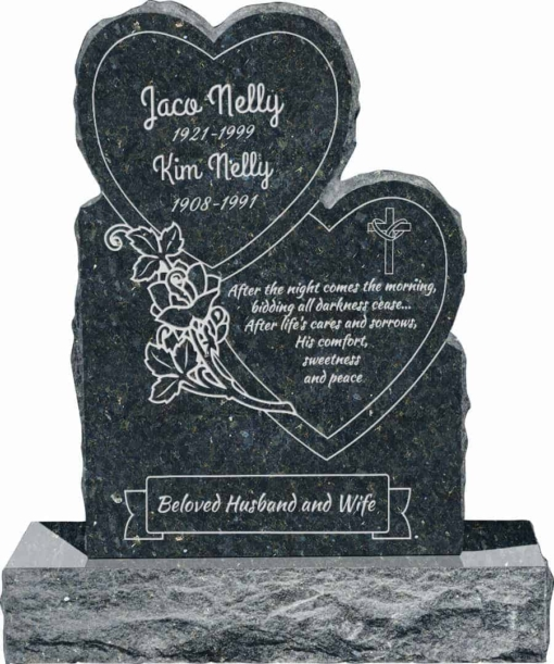 24inch x 6inch x 34inch Double Heart Upright Headstone polished front and back with 34inch Base in Emerald Pearl