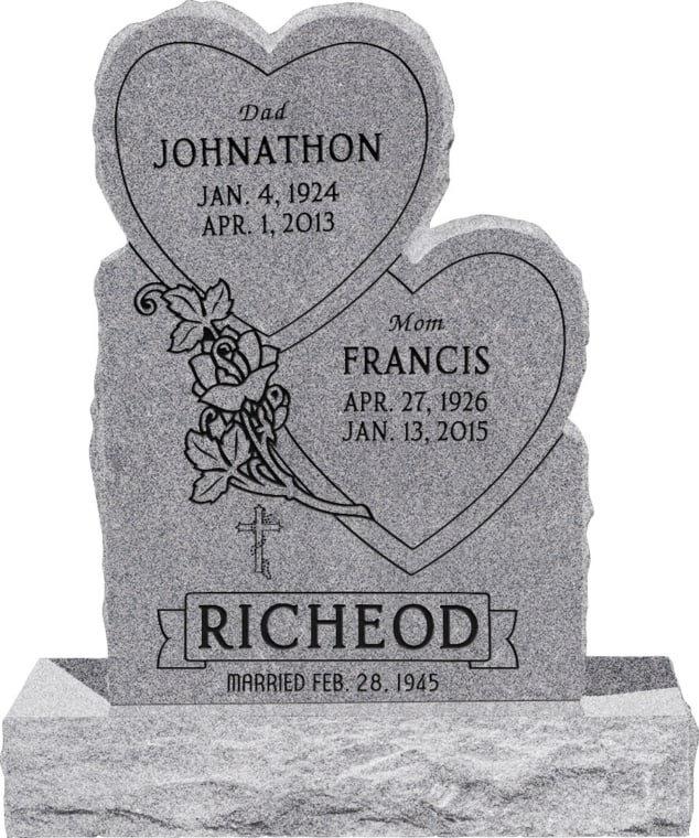 24inch x 6inch x 34inch Double Heart Upright Headstone polished front and back with 34inch Base in Grey