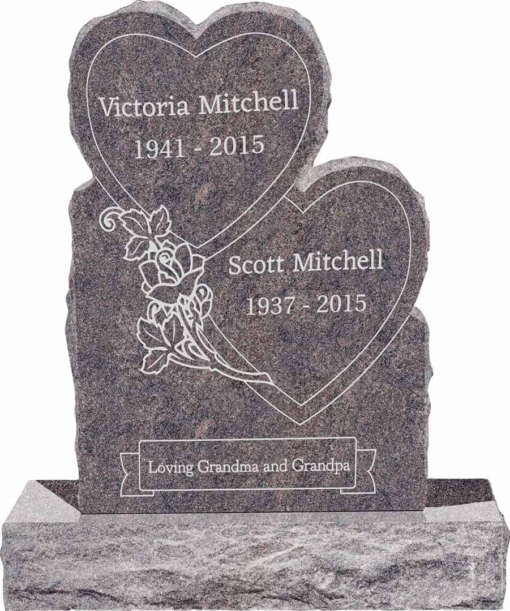 24inch x 6inch x 34inch Double Heart Upright Headstone polished front and back with 34inch Base in Himalayan