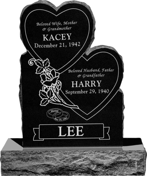24inch x 6inch x 34inch Double Heart Upright Headstone polished front and back with 34inch Base in Imperial Black