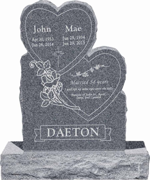 24inch x 6inch x 34inch Double Heart Upright Headstone polished front and back with 34inch Base in Imperial Grey