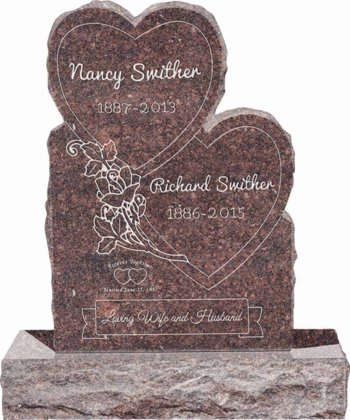 24inch x 6inch x 34inch Double Heart Upright Headstone polished front and back with 34inch Base in Mahogany