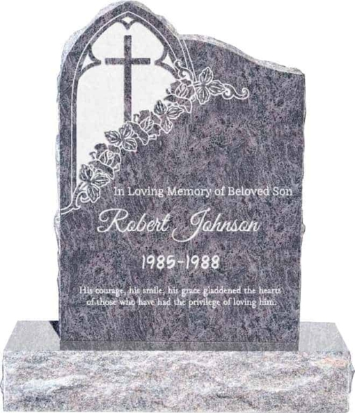24inch x 6inch x 34inch Gothic Upright Headstone polished front and back with 34inch Base in Bahama Blue