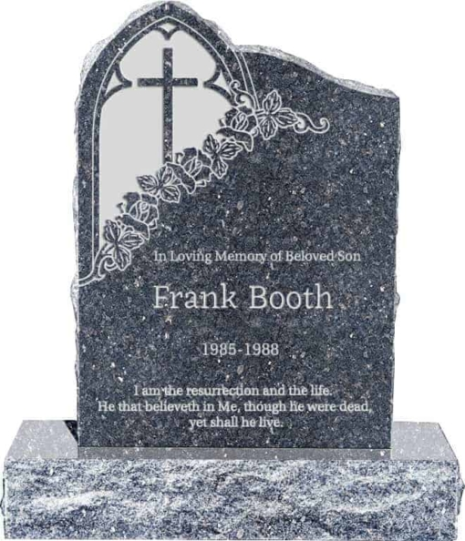 24inch x 6inch x 34inch Gothic Upright Headstone polished front and back with 34inch Base in Blue Pearl