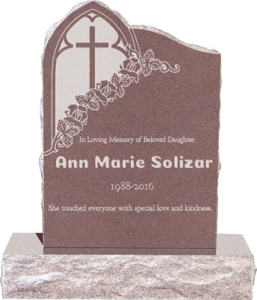 24inch x 6inch x 34inch Gothic Upright Headstone polished front and back with 34inch Base in Desert Pink