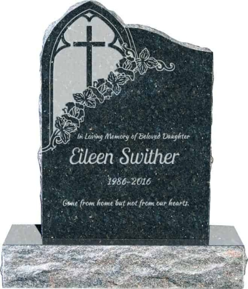 24inch x 6inch x 34inch Gothic Upright Headstone polished front and back with 34inch Base in Emerald Pearl