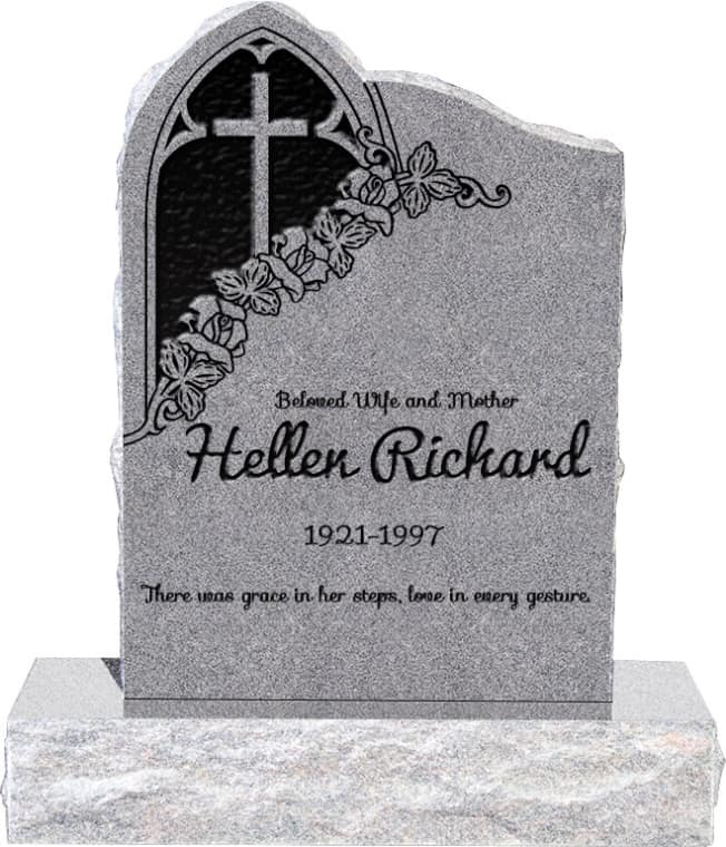 24inch x 6inch x 34inch Gothic Upright Headstone polished front and back with 34inch Base in Grey