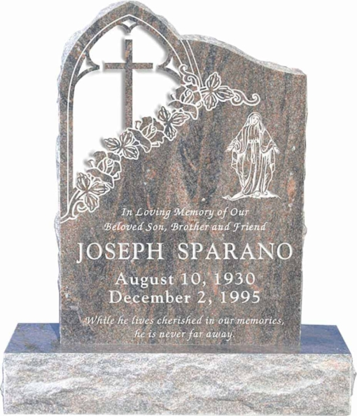 24inch x 6inch x 34inch Gothic Upright Headstone polished front and back with 34inch Base in Himalayan