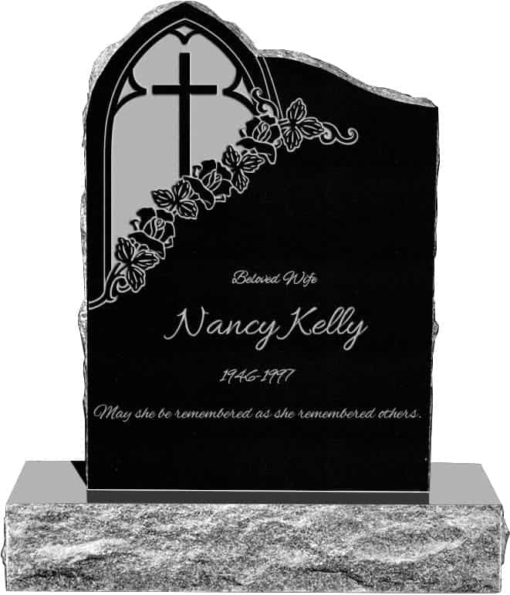 24inch x 6inch x 34inch Gothic Upright Headstone polished front and back with 34inch Base in Imperial Black