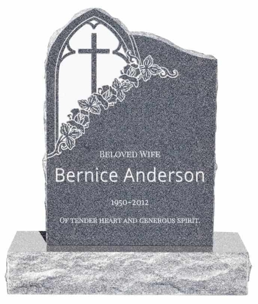 24inch x 6inch x 34inch Gothic Upright Headstone polished front and back with 34inch Base in Imperial Grey