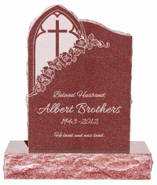 24inch x 6inch x 34inch Gothic Upright Headstone polished front and back with 34inch Base in Imperial Red