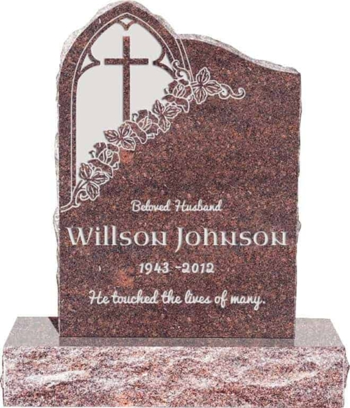 24inch x 6inch x 34inch Gothic Upright Headstone polished front and back with 34inch Base in Mahogany