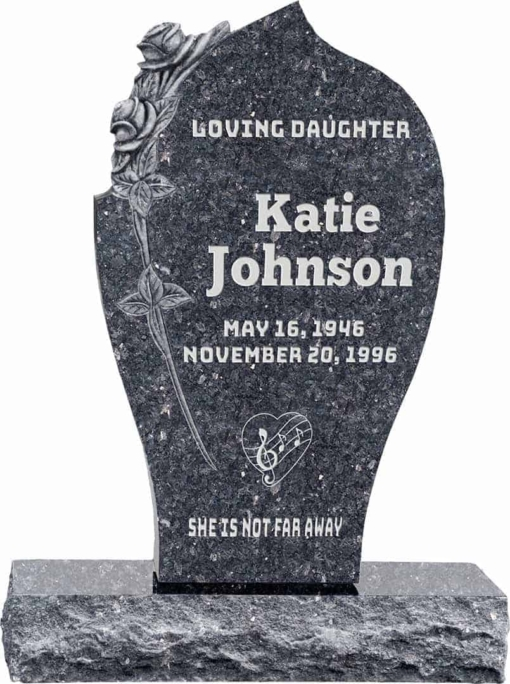 24 inch x 6 inch x 40 inch Carved Rose Upright Headstone polished all sides with 34 inch Base in Blue Pearl