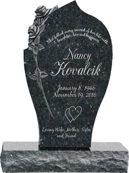 24 inch x 6 inch x 40 inch Carved Rose Upright Headstone polished all sides with 34 inch Base in Emerald Pearl