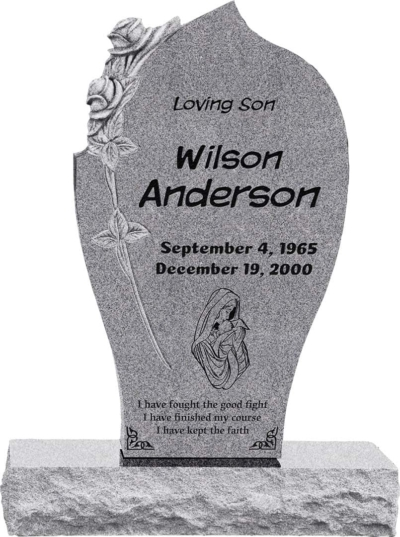 24 inch x 6 inch x 40 inch Carved Rose Upright Headstone polished all sides with 34 inch Base in Grey