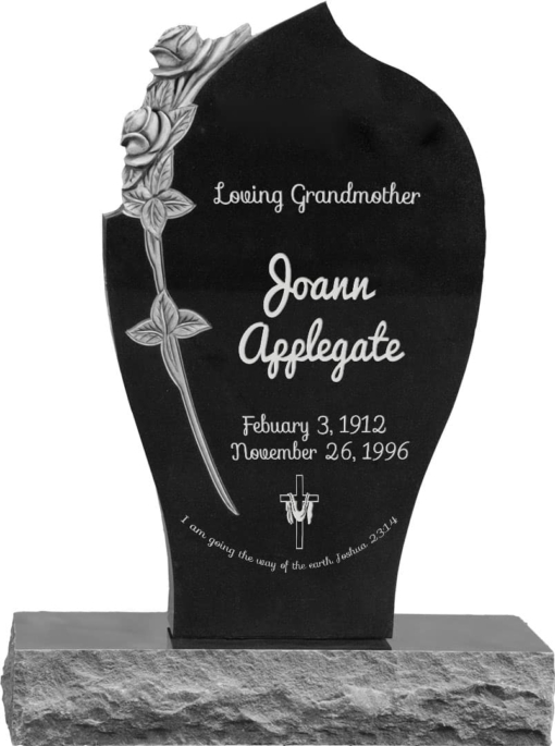 24 inch x 6 inch x 40 inch Carved Rose Upright Headstone polished all sides with 34 inch Base in Imperial Black