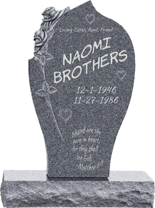 24inch x 6inch x 40inch Carved Rose Upright Headstone polished all sides with 34inch Base in Imperial Grey