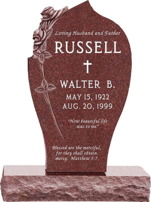 24 inch x 6 inch x 40 inch Carved Rose Upright Headstone polished all sides with 34 inch Base in Imperial Red