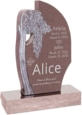 24 inch x 6 inch x 40 inch Olive Tree Upright Headstone polished all sides with 34 inch Base in Desert Pink
