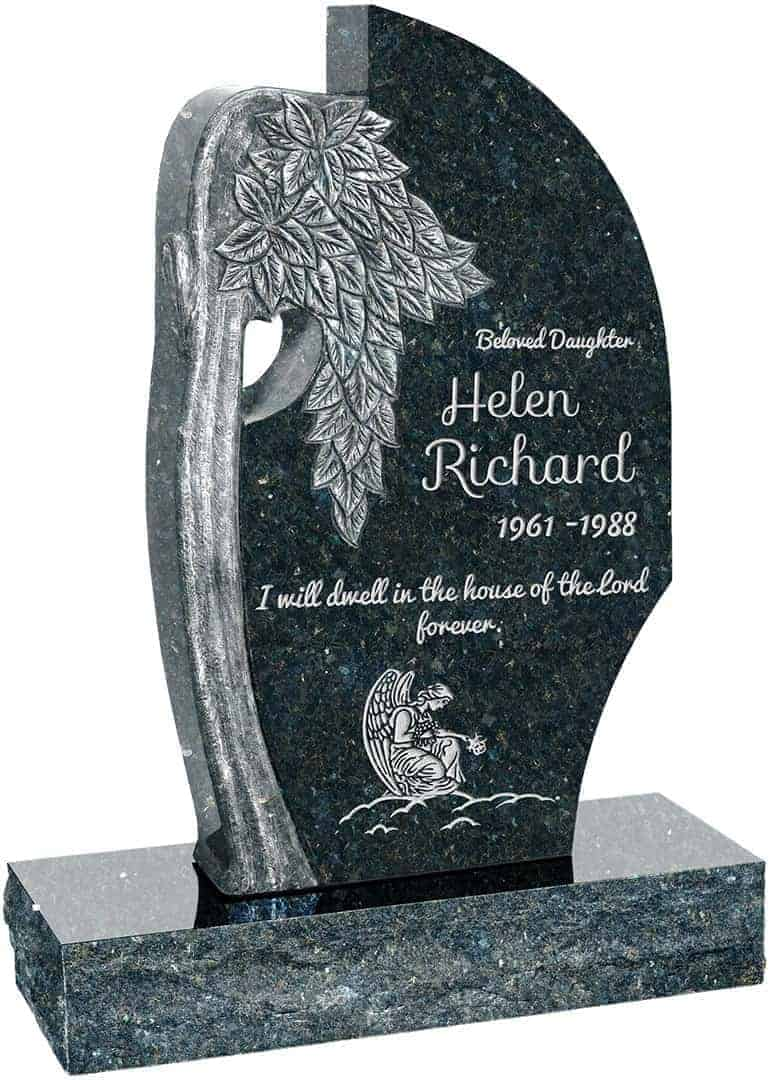 Olive Tree Upright Headstone polished all sides with 34 ...