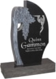 24 inch x 6 inch x 40 inch Olive Tree Upright Headstone polished all sides with 34 inch Base in Imperial Black