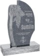 24 inch x 6 inch x 40 inch Olive Tree Upright Headstone polished all sides with 34 inch Base in Imperial Grey