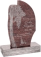 24 inch x 6 inch x 40 inch Olive Tree Upright Headstone polished all sides with 34 inch Base in Mahogany